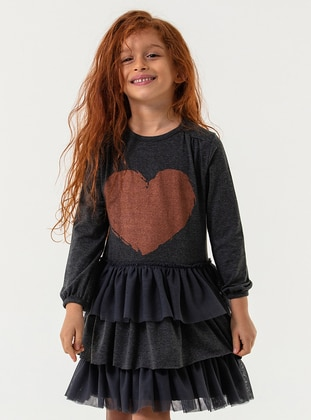 Crew neck - Cotton - Anthracite - Girls` Dress