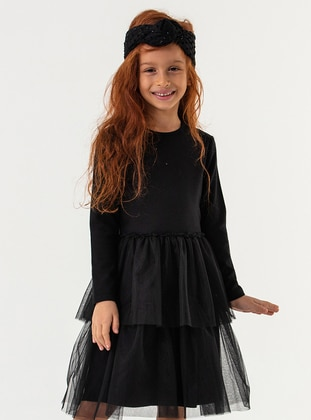 Crew neck - Cotton - Black - Girls` Dress