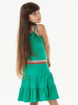 Cotton - Green - Girls` Dress
