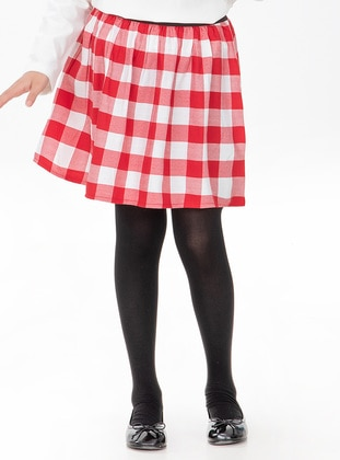 Plaid - Cotton - Red - White - Girls` Skirt