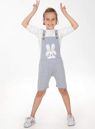 Cotton - Unlined - Gray - Girls` Pants