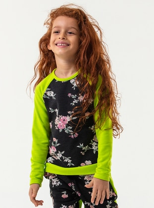 Multi - Crew neck - Cotton - Anthracite - Girls` Sweatshirt