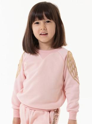 Crew neck - Cotton - Pink - Girls` Sweatshirt