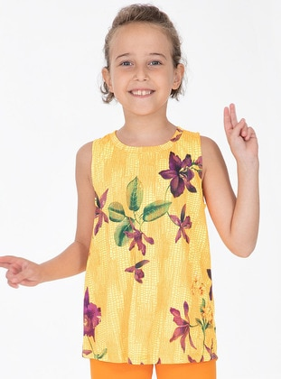 Floral - Crew neck - Cotton - Unlined - Yellow - Girls` Tunic