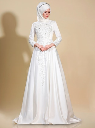 White - Ecru - Multi - Fully Lined - Crew neck - Muslim Evening Dress