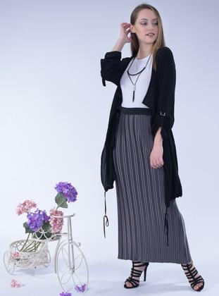Gray - Unlined - Satin - Skirt