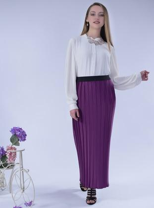 Purple - Unlined - Satin - Skirt
