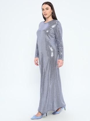 Blue - Unlined - Crew neck - Muslim Plus Size Evening Dress
