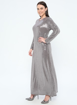 Powder - Unlined - Crew neck - Muslim Plus Size Evening Dress