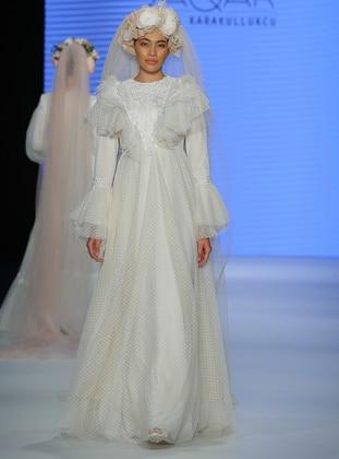 Ecru - Beige - Fully Lined - Muslim Evening Dress