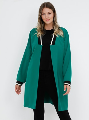 Green - Emerald - Unlined - Plus Size Coat