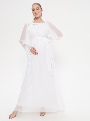 White - Ecru - Boat neck - Fully Lined - Cotton - Maternity Dress - Moda Labio
