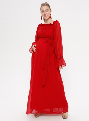 Red - Boat neck - Fully Lined - Cotton - Maternity Dress
