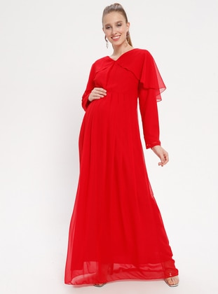 Red - Red - V neck Collar - Fully Lined - Cotton - Maternity Dress - Moda Labio