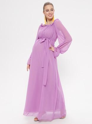 Lilac - Boat neck - Fully Lined - Cotton - Maternity Dress - Moda Labio