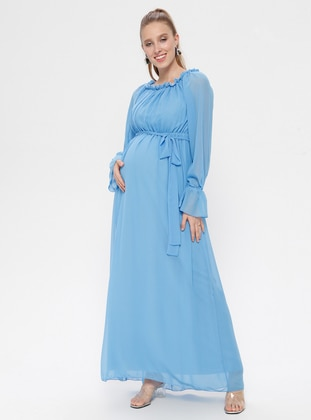 Baby Blue - Boat neck - Fully Lined - Cotton - Maternity Dress - Moda Labio
