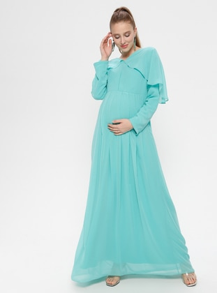 Mint - V neck Collar - Fully Lined - Cotton - Maternity Dress