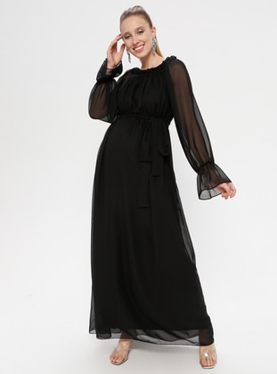 Black - Boat neck - Fully Lined - Cotton - Maternity Dress