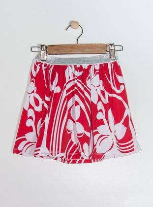 Floral - Red - White - Girls` Skirt