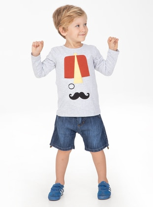 Multi - Crew neck - Cotton - Unlined - Boys` T-Shirt