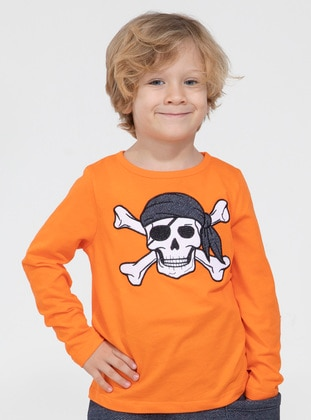 Crew neck - Cotton - Unlined - Orange - Boys` T-Shirt