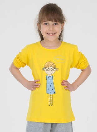 Crew neck - Cotton - Unlined - Yellow - Girls` T-Shirt