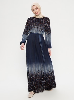 Navy Blue - Multi - Crew neck - Unlined - Dress - ECESUN