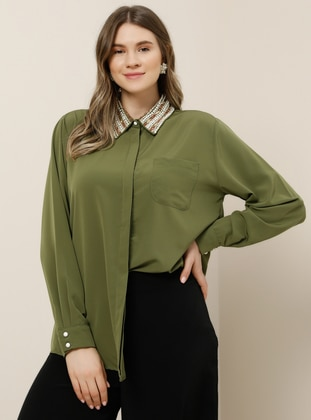 Khaki - Point Collar - Plus Size Blouse - Alia