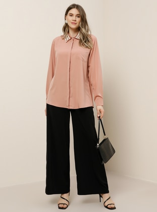 Powder - Point Collar - Plus Size Blouse