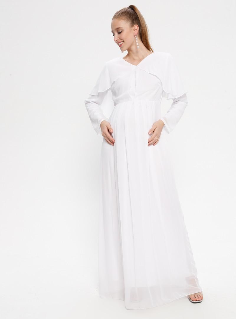 Tesettür Hamile Elbise Moda Labio Beyaz Ekru Kadın 44