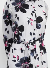 Gray - Floral - Point Collar - Fully Lined - Dress