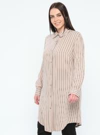 Beige - Stripe - Point Collar - Viscose - Plus Size Tunic