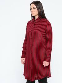 Maroon - Stripe - Point Collar - Viscose - Plus Size Tunic