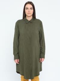 Khaki - Stripe - Point Collar - Viscose - Plus Size Tunic