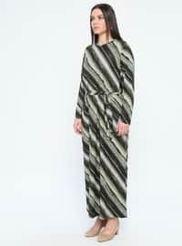 Khaki - Multi - Unlined - Crew neck - Plus Size Dress