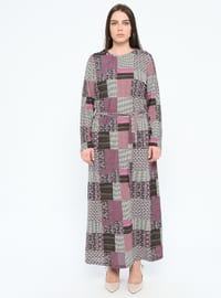 Pink - Multi - Unlined - Crew neck - Plus Size Dress