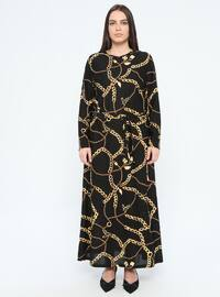 Black - Multi - Unlined - Crew neck - Plus Size Dress