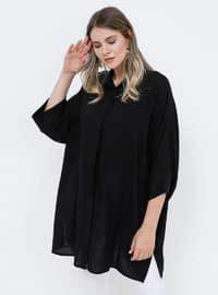 Black - Point Collar - Viscose - Plus Size Tunic