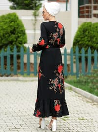 Black - Brown - Floral - Crew neck - Unlined - Dress