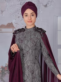 Plum - Multi - Fully Lined - Polo neck - Muslim Evening Dress