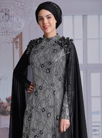 Black - Multi - Fully Lined - Polo neck - Muslim Evening Dress