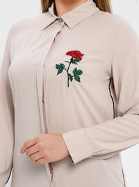 White - Ecru - Beige - Point Collar - Plus Size Tunic
