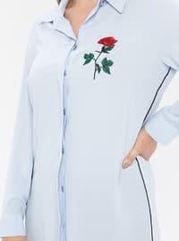 Blue - Point Collar - Plus Size Tunic