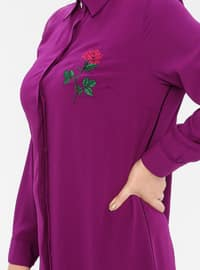 Purple - Point Collar - Plus Size Tunic