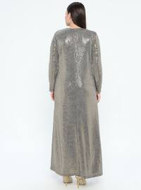 Gold - Unlined - Crew neck - Muslim Plus Size Evening Dress