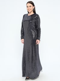 Navy Blue - Unlined - Crew neck - Muslim Plus Size Evening Dress