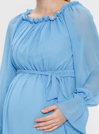 Baby Blue - Boat neck - Fully Lined - Cotton - Maternity Dress