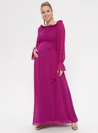 Purple - Boat neck - Fully Lined - Cotton - Maternity Dress