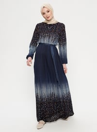 Navy Blue - Multi - Crew neck - Unlined - Dress
