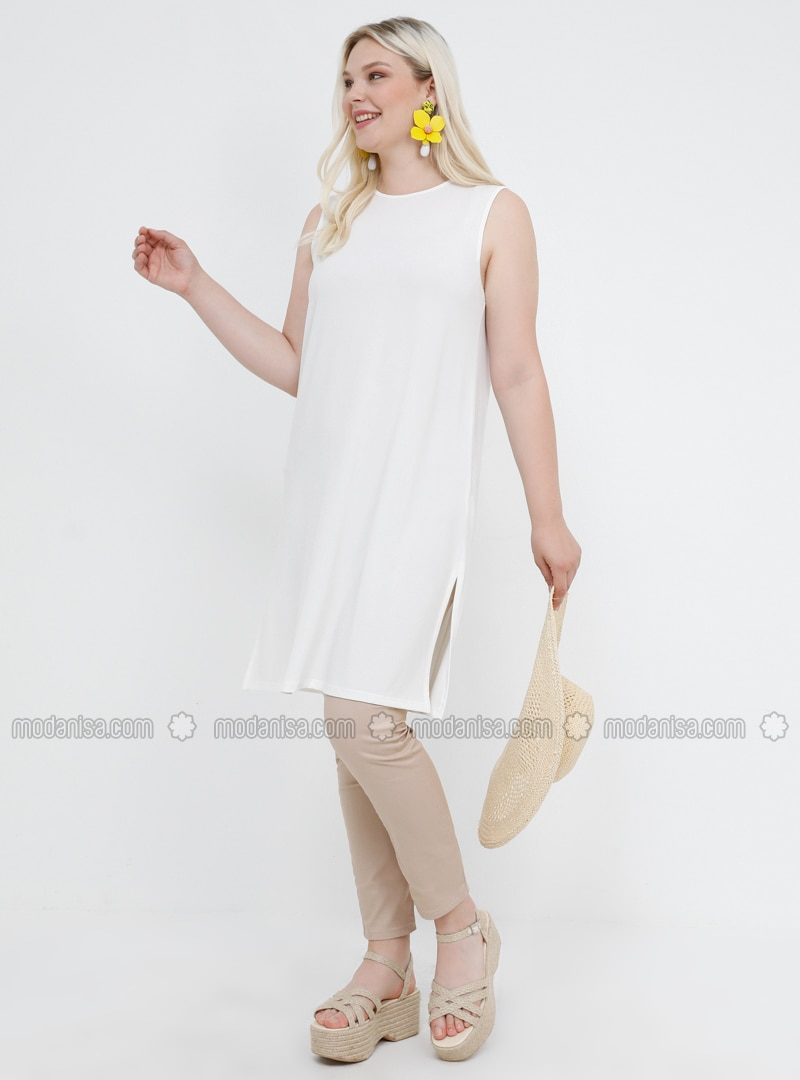 White - Ecru - Crew neck - Plus Size Tunic
